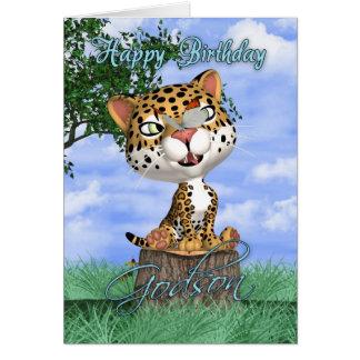 Carte d'anniversaire de filleul avec Jaguar et