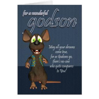 Carte d'anniversaire de filleul - avec la souris