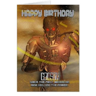 Carte d'anniversaire de filleul avec le cyborg -