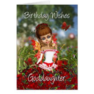 Carte d'anniversaire de filleule avec la fée de