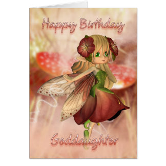 Carte d'anniversaire de filleule avec la fraise et