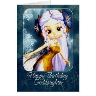 Carte d'anniversaire de filleule - fée bleue
