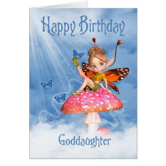 Carte d'anniversaire de filleule - fée mignonne