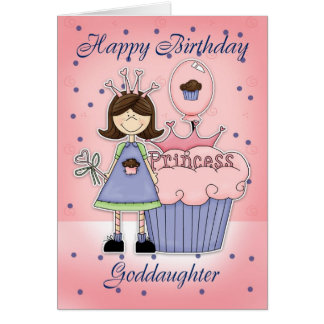 Carte d'anniversaire de filleule - princesse de
