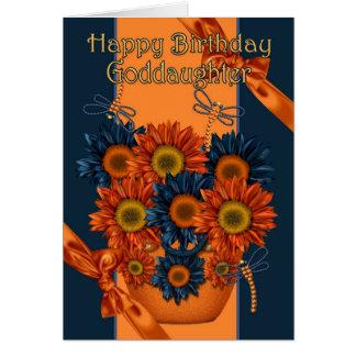 Carte d'anniversaire de filleule - tournesol et