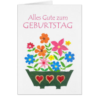 "Carte d'anniversaire de ""flower power"" d'Allemand"
