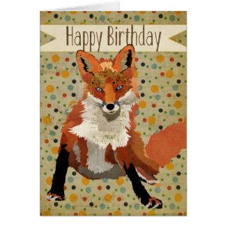 Carte d'anniversaire de Fox rouge