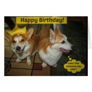 Carte d'anniversaire de gâteau de corgi