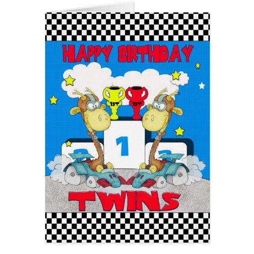 Carte d'anniversaire de girafe de jumeaux - emball