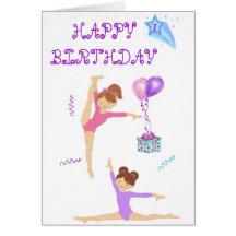Carte d'anniversaire de gymnastique personnalisée