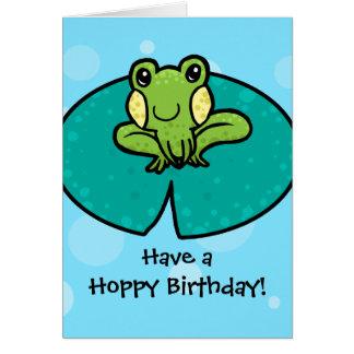 Carte d'anniversaire de houblon de grenouille