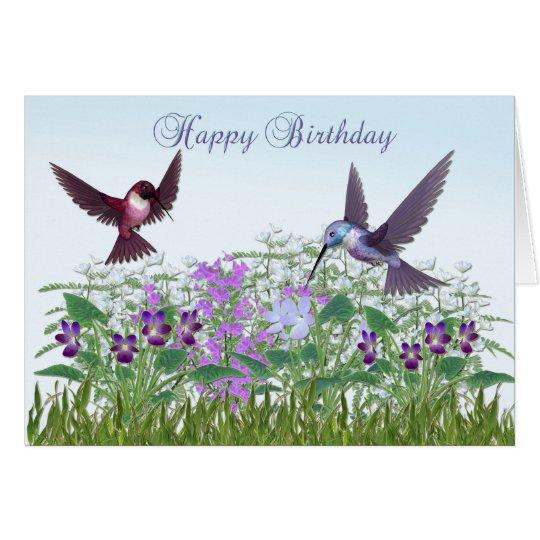 Carte d 39 anniversaire de jardin de colibri for Carte jardin de tadine