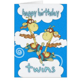 Carte d'anniversaire de jumeaux - girafe d'avion/a