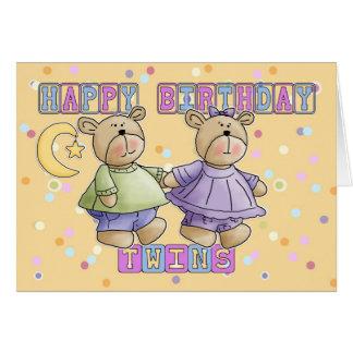 Carte d'anniversaire de jumeaux - nounours