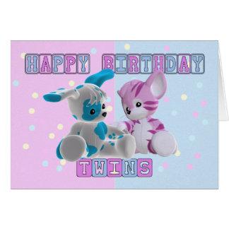 Carte d'anniversaire de jumeaux - rose et bleu