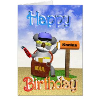 Carte d'anniversaire de koala de facteur