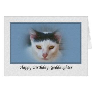 Carte d'anniversaire de la filleule avec le chat