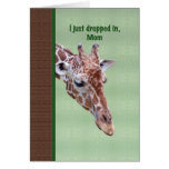 Carte d'anniversaire de la maman avec la girafe