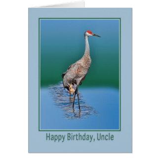 Carte d'anniversaire de l'oncle avec la grue de