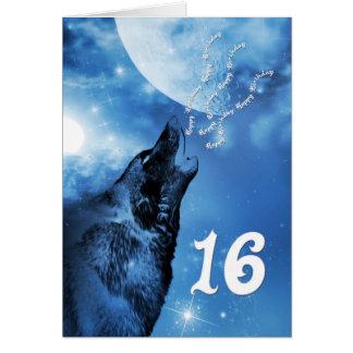 Carte d'anniversaire de loup de fantôme 16ème