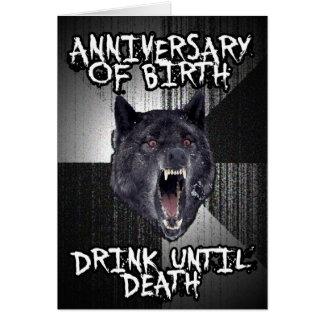 Carte d'anniversaire de loup de folie