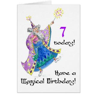 """Carte d'anniversaire de """"magicien"""" pour un de 7"""