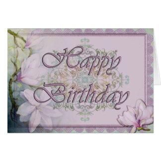 Carte d'anniversaire de magnolia et de dentelle