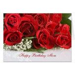 Carte d'anniversaire de maman avec les roses rouge