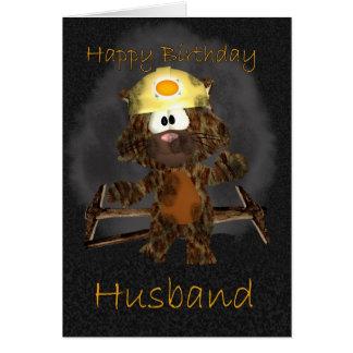 Carte d'anniversaire de mari - chat du mineur