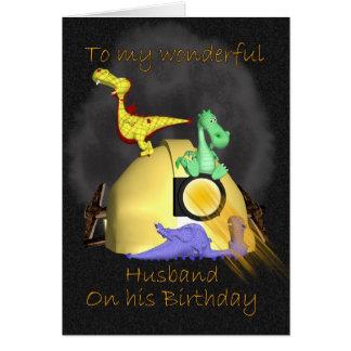 Carte d'anniversaire de mari - dragons du mineur