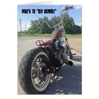 Carte d'anniversaire de moto de bobber de vieille