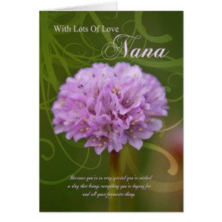 Carte d'anniversaire de Nana avec la fleur rose de