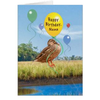 Carte d'anniversaire de Nana avec le canard et les