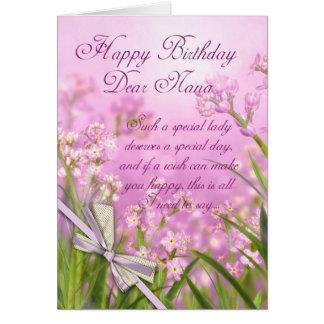 Carte d'anniversaire de Nana - floral féminin rose