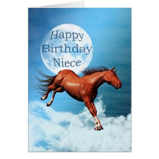 Carte d'anniversaire de nièce avec le cheval