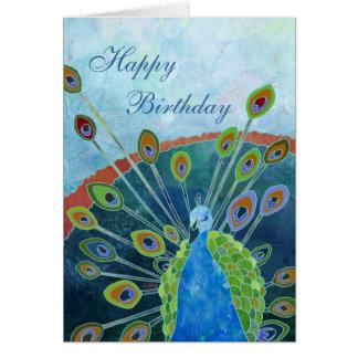 Carte d'anniversaire de paon