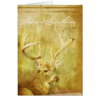 Carte d'anniversaire de peinture lavée de cerfs