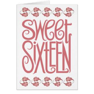 Carte d'anniversaire de pétales de sweet sixteen