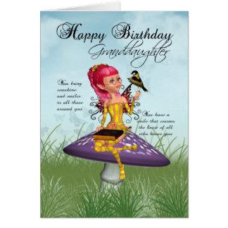 Carte d'anniversaire de petite-fille avec la fée