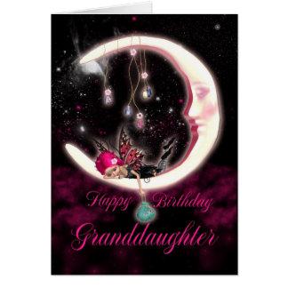 Carte d'anniversaire de petite-fille avec la lune