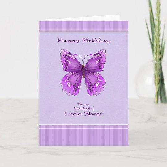 Carte D Anniversaire De Petite Soeur Papillon Zazzle Fr