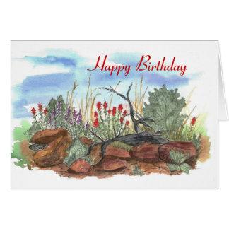 Carte d'anniversaire de pinceau indien de désert