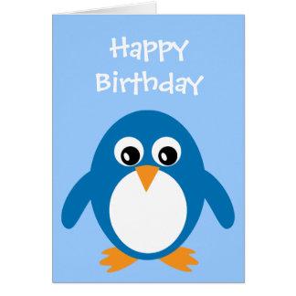 Carte d'anniversaire de pingouin de bande dessinée