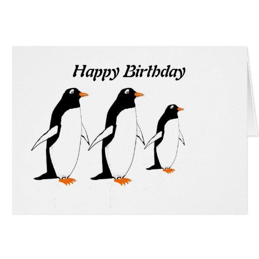 Carte d'anniversaire de pingouins