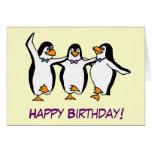 Carte d'anniversaire de pingouins de danse