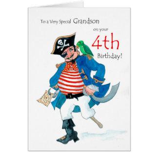 Carte d'anniversaire de pirate d'amusement 4ème