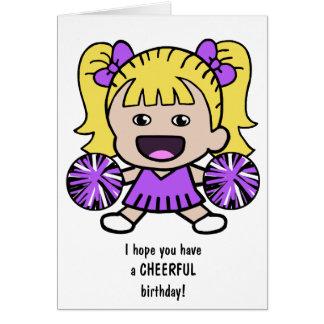 Carte d'anniversaire de pom-pom girl d'amusement