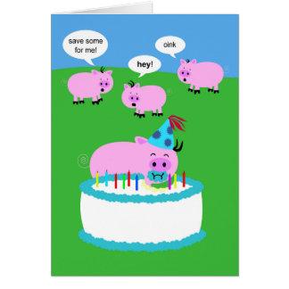 Carte d'anniversaire de porc