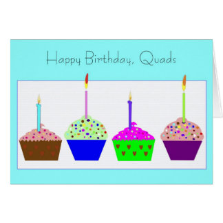 Carte d'anniversaire de quadruplés