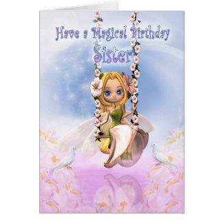 Carte d'anniversaire de soeur avec la fée de tarte